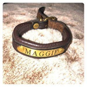 Leather Maggie name bracelet